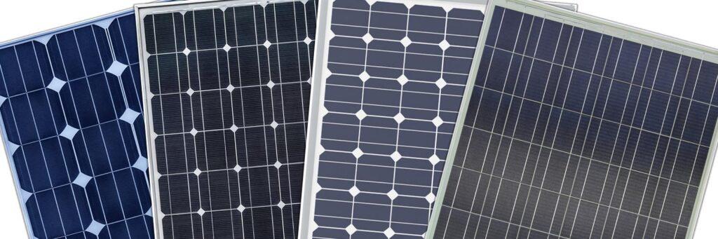 Vier verschiedene Solarmodule im Vergleich
